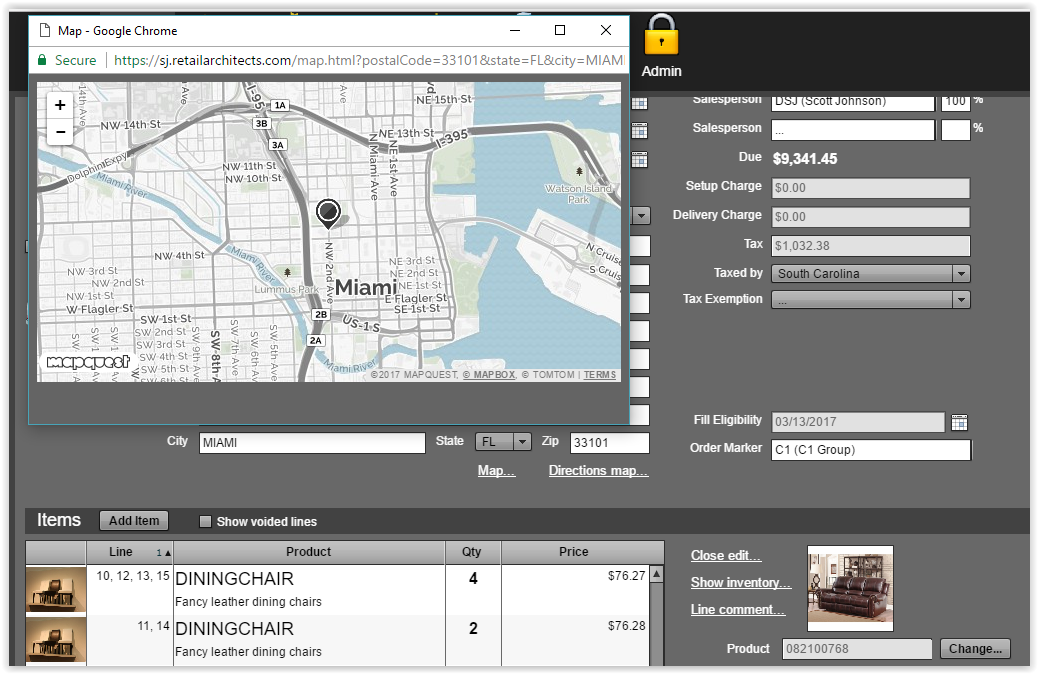 Retail Architects user interface, powered by MapQuest