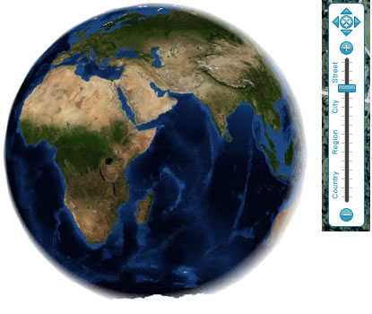 globe view / ocean breeze controls screen