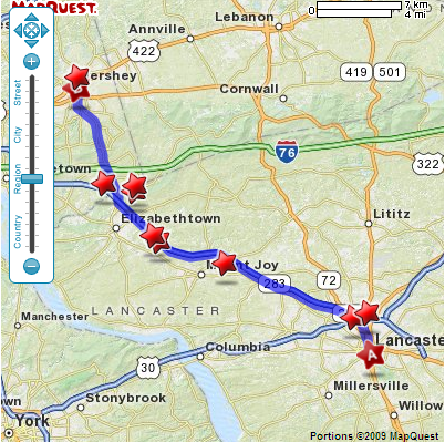 Locations filtered for those which are with 5 minutes drive off of the route.